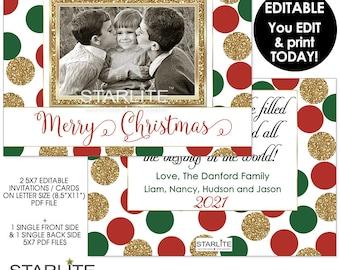 Photo Christmas Card Editable, Photo Christmas Card PDF, Christmas Photo Card Editable INSTANT DOWNLOAD, Red Green Gold Glitter, DiY Card