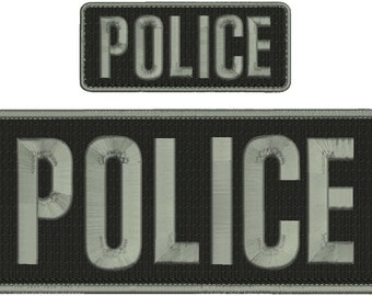 Police Embroidery Patch 10x4 and 5x2 inches Hook backing all grey