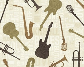 Musical instruments in Tan by Anthology Fabrics - You choose the cut