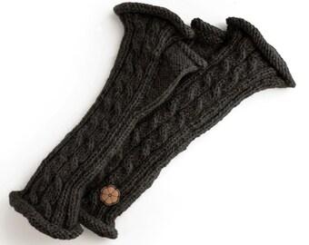 Mitaines torsadées noires, 100% alpaga de couleur naturelle, faites à la main