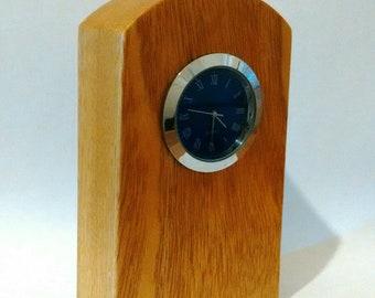 Handcrafted,Iroko Wood, Mantle Clock