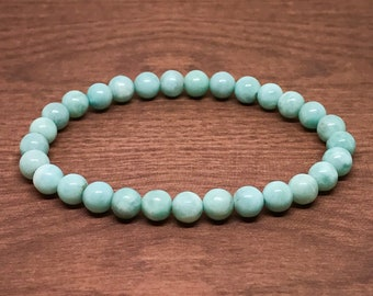 Genuine Larimar Bracelet - Natural Dominican Republic Larimar Bracelet 6mm Stacking Bracelet Gemstone Stretch Healing Crystal Authentic