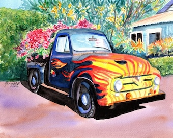 Hanapepe Truck 8x10 giclee print from Kauai Hawaii old trucks flames kauai fine art kauaiartist marionette kauai paintings
