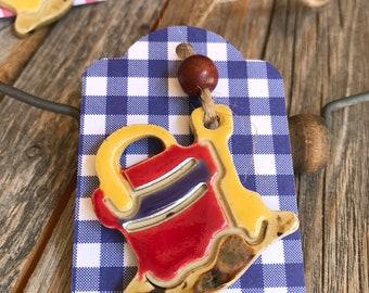 "Ceramic Beach Bucket Gift Tag | Ceramic Beach Pail & Shovel Ornament | Pottery Beach Gift tag | ""A day at the Beach"" Charm | Picnic Tag"
