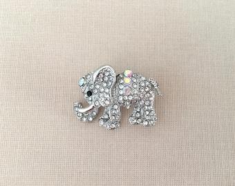 Elephant Rhinestone Brooch.Elephant Crystal Brooch.A/B Elephant Brooch.Elephant Pin.Broach.Unisex.Boho.Bohemian.Elephant jewelry.Iridescent