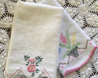 Vintage Towels - Pink & White Embroidery - Cross Stitching - Crochet Edging - Huck Linen, pair