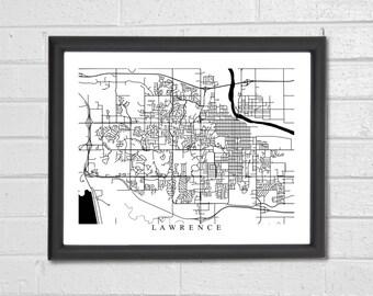 Lawrence City Map Art - Black and White - Jayhawks - University of Kansas - Graduation Gift - Wedding - Engagement