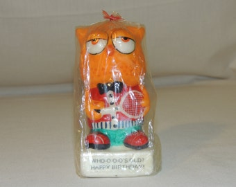 "VTG 1974 Owl ""Who-O-O-O's Old? Happy Birthday!"" SNP Candle NEW"