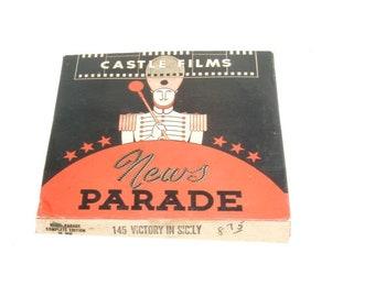 Vintage Castle Films News Parade 16mm Film Reel in Box