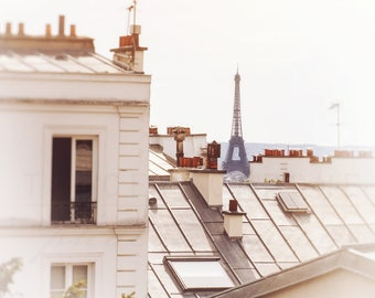 Paris Art Print | Eiffel Tower Photograph | Montmartre Rooftops - Paris sunlight | Paris Photography | Wall Art Prints | Parisian Home Decor