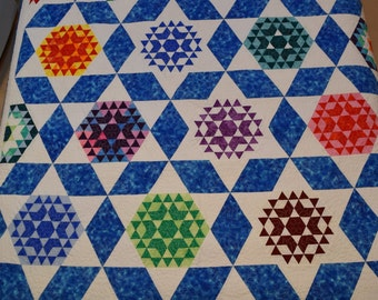 Queen Quilt Handmade Patchwork Blue She's Truly Lost Her Marbles Quiltsy