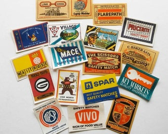 Matchbox Labels, 18pc Assorted Vintage matchbox labels, Original 1960s design, Vintage Ephemera, Paper Love, Vintage Paper Art