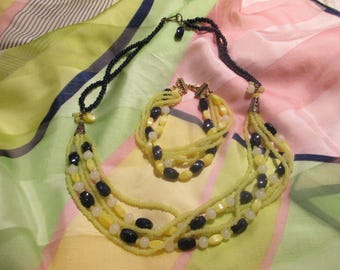 Blue and yellow necklace and bracelet set