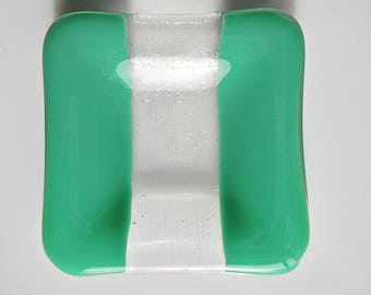 Small Green Fused Glass Dish Glass Ring Dish Trinket Dish Fused Glass Tea Light Holder Catch All Dish Small Gifts