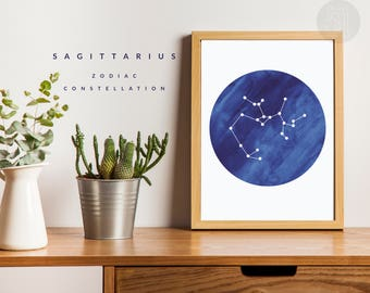 SAGITTARIUS constellation watercolor print, astrology print art, zodiac sign wall art, zodiac sign poster, SAGITTARIUS wall art printable