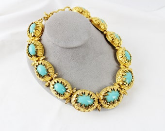 Fendi necklace etsy fab fendi 18k plated gold and turquoise necklace aloadofball Gallery