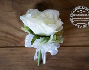 Corsage White Rose, green hydrangea white sheer bow (pin on)