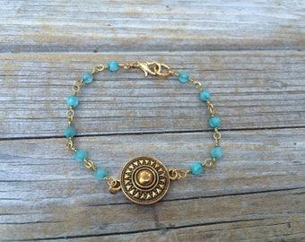 Teal Beaded Boho Bracelet, Rosary Bracelet, Blue beaded bracelet, layering bracelet, stacking bracelet, boho bracelet, Gifts for her