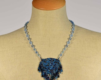 Montana summer necklace - blue beadwoven triangle necklace, handmade, one of a kind, glass beads, vintage silver beads, statement necklace