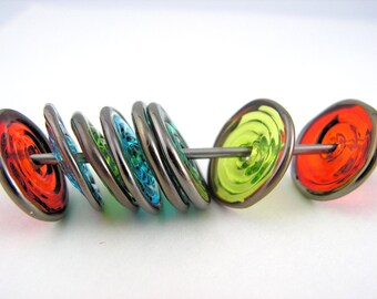 MINI  RAINBOW Transparent Silver Lampwork DISCS Set of 8