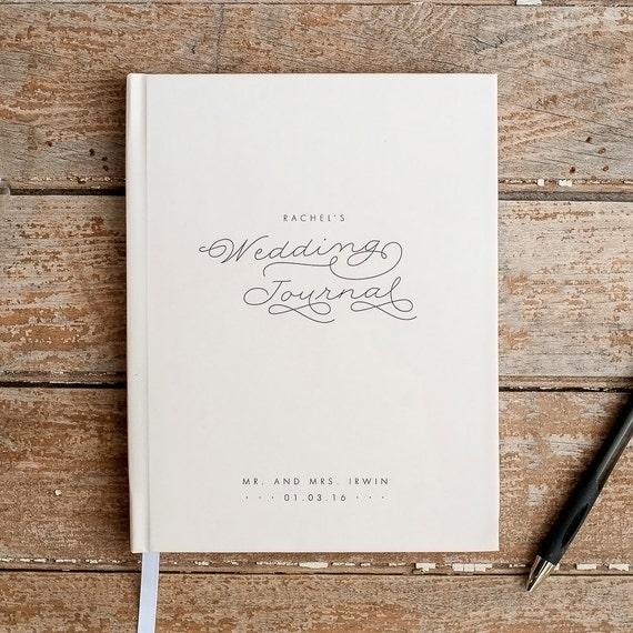 Wedding Journal Notebook Wedding Planner Personalized custom wedding book bridal shower guest book rustic wedding keepsake bride journal