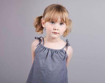 Girls Pillowcase top in lightweight denim blue