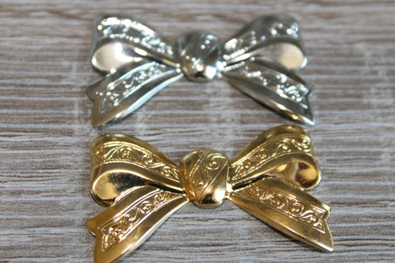 Vintage Brass BOW, brass FINDING plated silver, gold, Dapped, ornate, hand made, Vintage Brass Stamping, Brass Filigree, Large