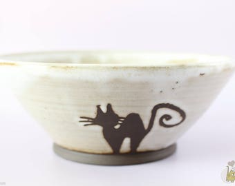 Stoneware Bowl, illustrated by a cat silhouette
