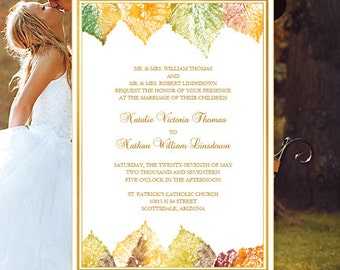 "Printable Wedding Invitation ""Fall in Love"" Template Make Your Own Wedding Invitations Word.doc Edit Text Instant Download DIY You Print"