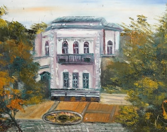 Landscape house impressionist oil painting signed