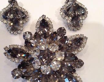 Spectacular Huge Vintage Weiss Brooch & Earring Set Clear Black Smokey Grey Crystal Rhinestones Rhodium Plated