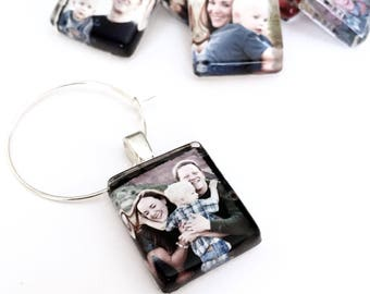 12 Custom Image Wine Charm Party Favors - Scrabble Size