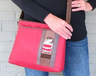 Large Vegan Leather Crossbody Bag - Owl Red Crossover Bag