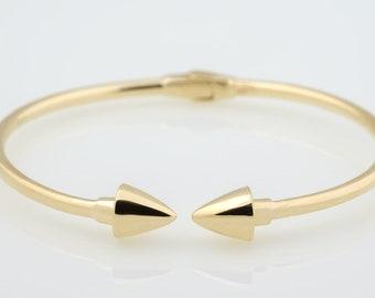 14K Gold Spear Cuff bracelet .