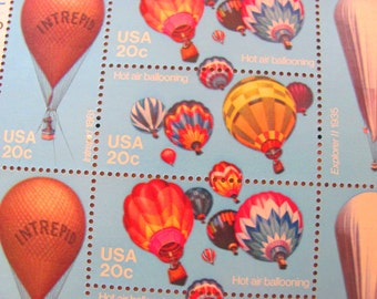Hot Air Balloons Pane of 20 UNused Vintage US Postage Stamps 20c 1980s Steampunk Rainbow Valentine's Save the Date Wedding Postage Intrepid