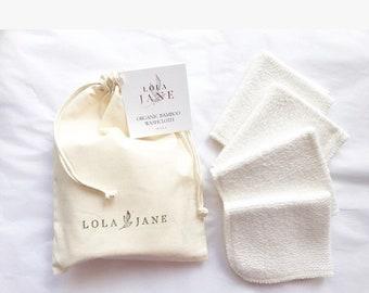 Organic Bamboo Washcloths/ set of 4/ muslin cotton drawstring wash bag/ oil cleansing method/ facial care