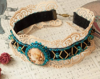 Victorian gothic choker, Steampunk jewellery, Velvet lace cameo necklace, Black blue bronze, Polymer clay Lady, Embroidery beaded choker