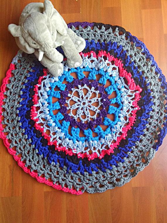 Tshirt yarn Rug Crochet Kids Carpet Mat Mandala Floor round
