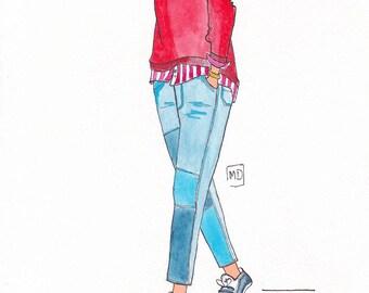 Pullover red illustration