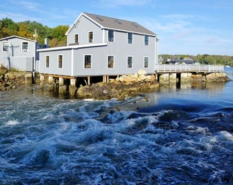 Gulph River rapids, Cohasset, MA, coastal, New England, Massachusetts, South Shore, Boston, cottage decor, harbor, archival print signed