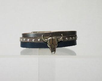 Buffalo head leather bracelet