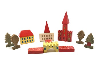 Vintage German Dusyma Toy Blocks, Village, Putz, Wood, Building, 16 Pieces,Trees, c1960