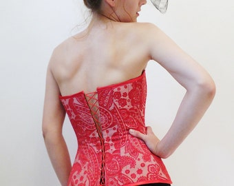 Red Paisley Jacquard Overbust Corset With Satin Lacing