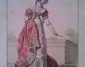 Francois Delpech 8 French women's costumes, handcolored stone lithographs, 19th century