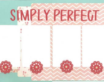 12x12 SIMPLY PERFECT scrapbook page kit, premade scrapbook, 12x12 premade scrapbook page, premade scrapbook page, 12x12 scrapbook layout