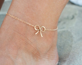Gold Bow anklet, Tying the Knot, bridesmaid gifts, beach wedding, tie the knot jewelry, bow jewelry, bridesmaid jewelry, bridal jewelry