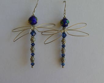 Long Silver and Blue Cloisonné Dragonfly Earrings