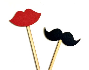 He Said She Said Bridal shower props - Lips and mustache prop