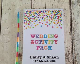 Children's Personalised Wedding Activity Pack Confetti Favour A6 White