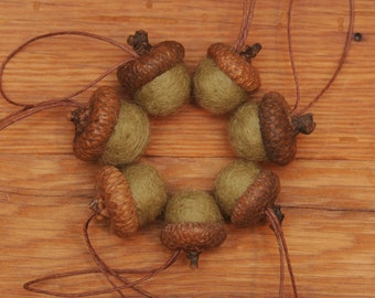 Light Green Felted Acorns OR Felted Acorn Ornaments, Sage Green